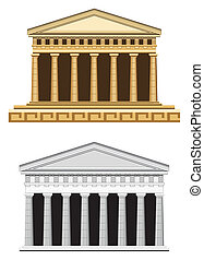 Antique Temple Facade - Antique temple illustration,...