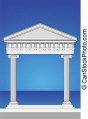 Illustration of an antique temple facade and mediterranean sea