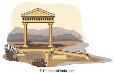 Antique Temple Ruins - Antique temple illustration, isolated...