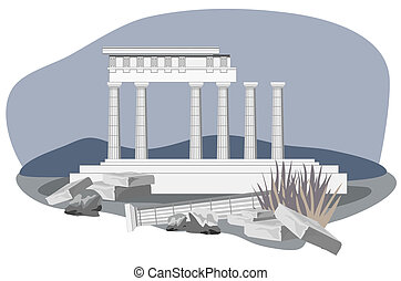 Antique Temple Ruins - Antique temple ruins, isolated on...