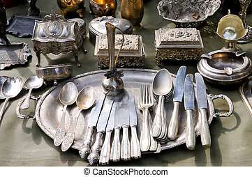 Antique things mostly made of silver