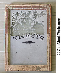 Antique Ticket Window sign from train depot.
