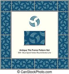 Antique tile frame pattern set blue spiral vortex round stroke line