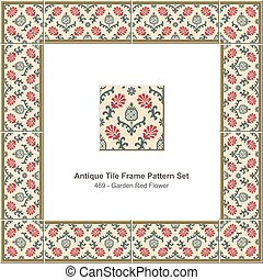 Antique tile frame pattern set Botanic Garden Red Flower