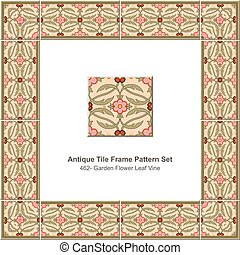 Antique tile frame pattern set Garden Flower Leaf Vine