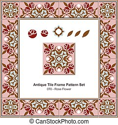 Antique tile frame pattern set Garden Pink Rose Flower
