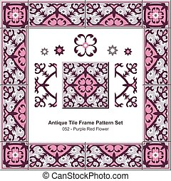Antique tile frame pattern set Garden Purple Red Flower Kaleidoscope