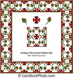 Antique tile frame pattern set Garden Red Flower Bud