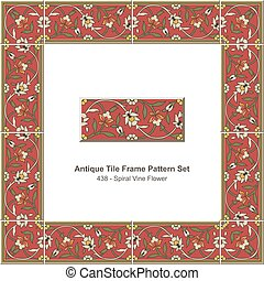 Antique tile frame pattern set Garden Red Spiral Vine Flower
