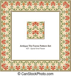 Antique tile frame pattern set Garden Spiral Vine Flower