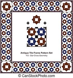 Antique tile frame pattern set Islamic Brown Blue Star Cross Geometry