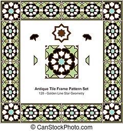 Antique tile frame pattern set Islamic Golden Line Green Star Geometry