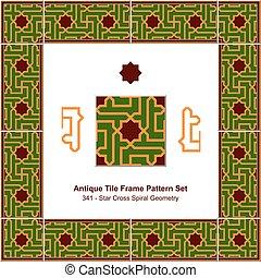 Antique tile frame pattern set Islamic Star Cross Spiral Geometry
