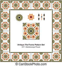 Antique tile frame pattern set Kaleidoscope Flower