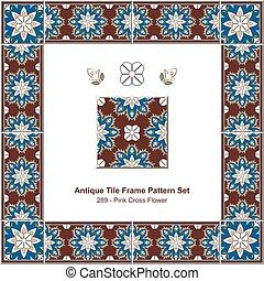 Antique tile frame pattern set Pink Cross Flower