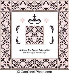 Antique tile frame pattern set Pink Spiral Kaleidoscope