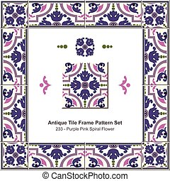 Antique tile frame pattern set Purple Pink Spiral Flower