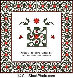 Antique tile frame pattern set Red Flower Spiral Green Vine