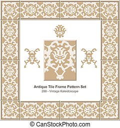 Antique tile frame pattern set Retro Brown Vintage Kaleidoscope