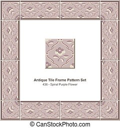 Antique tile frame pattern set Retro Spiral Purple Flower