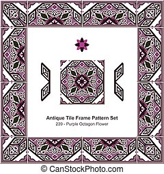 Antique tile frame pattern set Royal Purple Octagon Flower