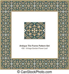 Antique tile frame pattern set Vintage Oriental Garden Flower Leaf