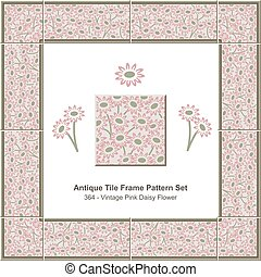 Antique tile frame pattern set Vintage Pink Daisy Flower
