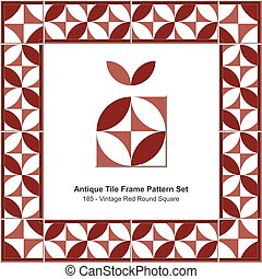 Antique tile frame pattern set Vintage Red Round Square