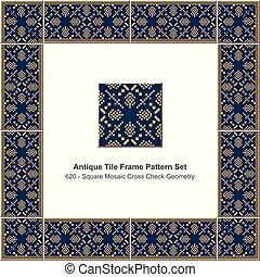 Antique tile frame pattern set yellow square mosaic pixel cross check geometry