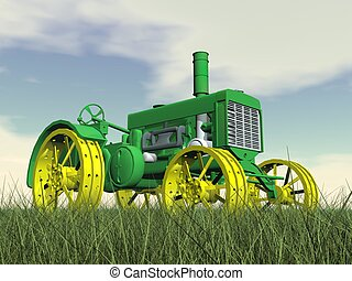Antique tractor - 3D render - Close up of yellow and green...