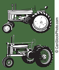 Line art of two old fashioned tractors