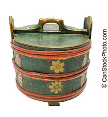 Antique traditional Norwegian rose painted food box isolated...