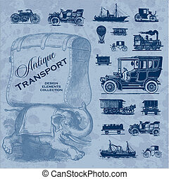 set of antique transportation design elements; scalable and editable vector illustration, grunge effect in separate layer;