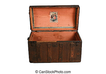 antique travel trunk - Isolated on white, a beautiful ...