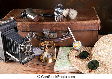 Antique traveller - Vintage tools of a traveller, compass,...