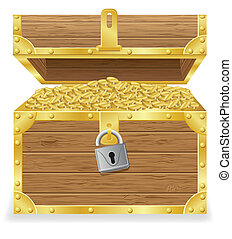 antique treasure chest vector illustration isolated on white...