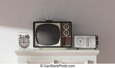 Antique TV set, alarm clock and radio on cabinet, home interior