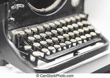 Antique typewriter close up, retro object
