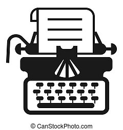 Antique typewriter icon, simple style
