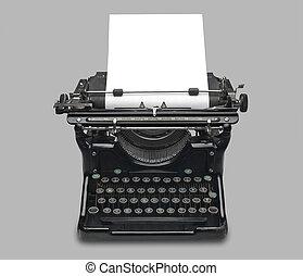 Antique typewriter - old fashioned, vintage typewriter with...