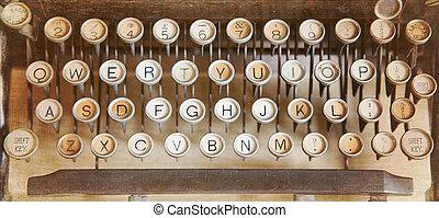 Antique typewriter - Qwerty keyboard of an antique...