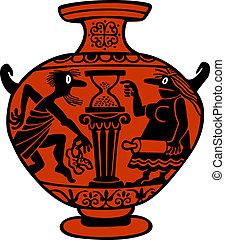 Antique vase - Antique red vase with family scene on white ...