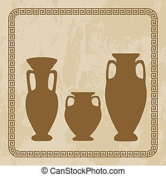 antique vases on  grunge background