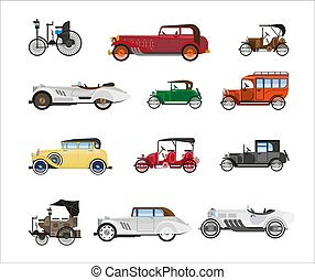 Antique vehicle colorful vector flat poster on white -...