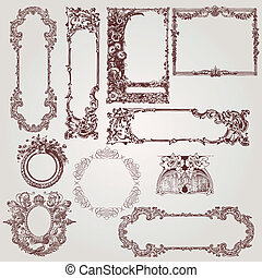 a collection of beautiful antique victorian, baroque frames and design elements