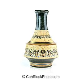 antique vieux, chinois, vase, fond, blanc