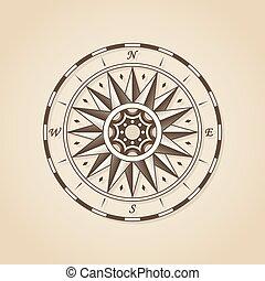 antique vieux, emb, vendange, compas, rose., signe, vecteur, nautique, étiquette