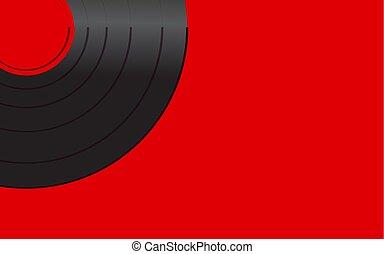 antique vieux, fond, vendange, centre, illustration, corner., enregistrement, vecteur, noir, retro, iridescent, gauche, hipster, phonographe, musical, analogue, rouges, vinyle