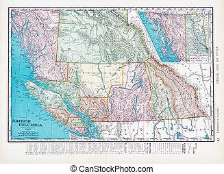 Antique Vintage Color Map British Columbia, Canada