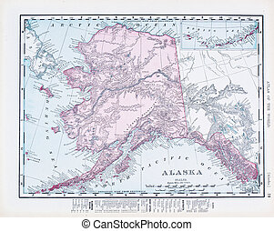 Antique Vintage Color Map of Alaska, USA